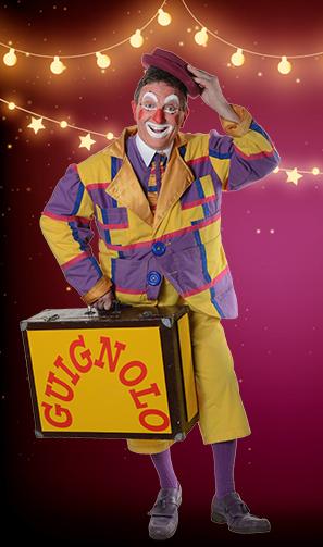 Guignolo le clown et sa valise